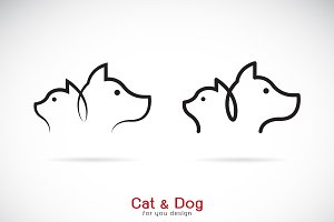 Vector of a dog and cat design. Pet.