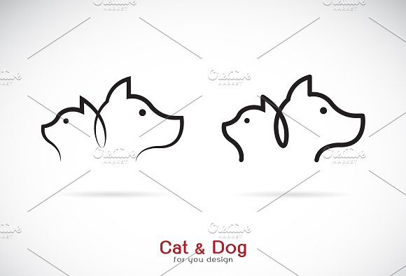 Vector Of A Dog And Cat Design Pet