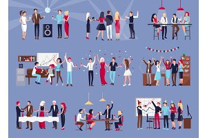 Group of People Celebrating Vector Illustration