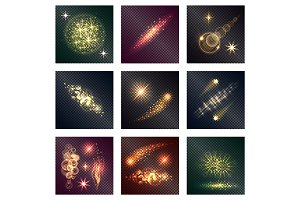 Different Color Lighting Effects Nine Shiny Icons
