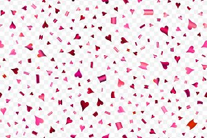 Falling confetti with hearts