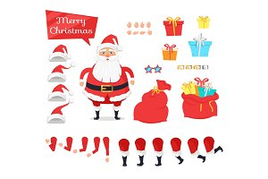 Set of Different Icons for Merry Xmas from Santa