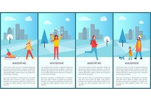 Wintertime Activities Poster Vector Illustration