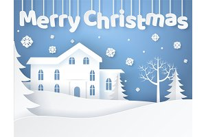 Merry Christmas Elegant Poster Vector Illustration