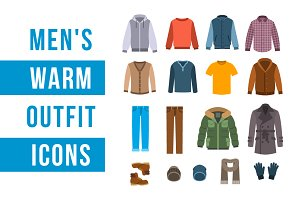 Warm men clothes icons