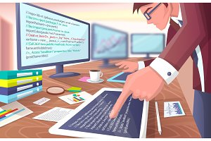 Developer with Screens on Vector Illustration