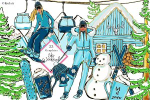 Ski Weekend - clipart / graphics