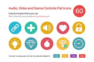 Audio, Video and Game Controls Flat