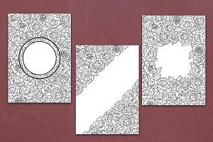 3 Flower Coloring Card Set