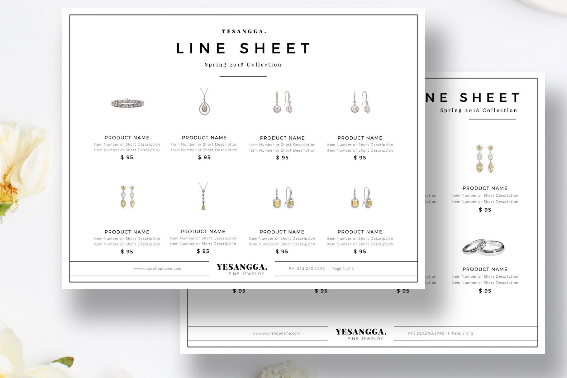 minimalist line sheet template flyer templates creative market. Black Bedroom Furniture Sets. Home Design Ideas