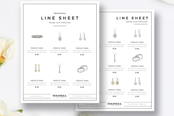 Minimalist Line Sheet Template Flyer Templates Creative Market