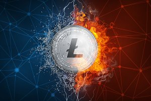 Gold ethereum coin hard fork in fire flame, lightning and water splashes.