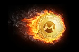 Golden ethereum coin flying in fire flame.