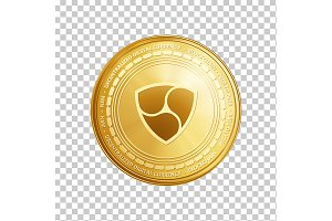 Golden ethereum blockchain coin symbol.