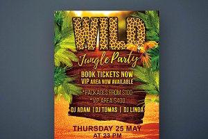 Wild Jungle Party Flyer PSD Template