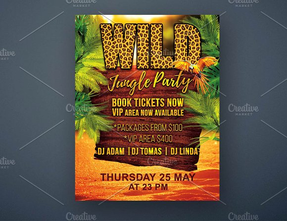 wild jungle party flyer psd template flyer templates creative market