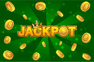 JACKPOT and gold coins