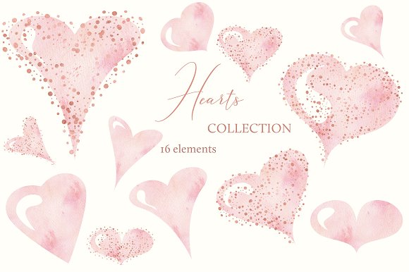 Watercolor Hearts Collection 002