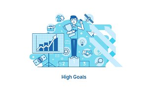 High goals concept,Achievement of high goals, self-improvement, leadership, success in business and growth in work, start-up. Vector illustration