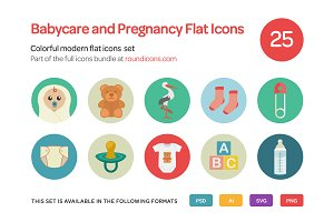 Babycare and Pregnancy Flat Icons Se
