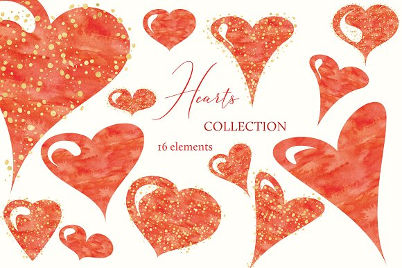 Watercolor Hearts Collection 001