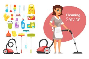Cleaning service character and stuff