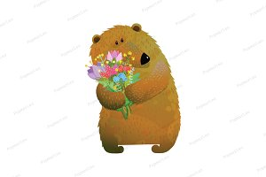 Bear and Bunch of Flowers