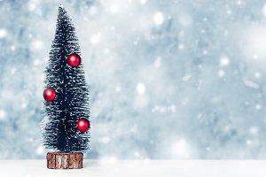 Ornate fir tree,Greeting invitation