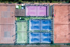 Tennis courts seen from a drone
