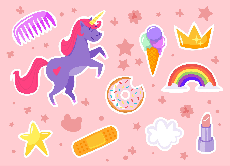 Unicorn stickers illustrations creative market