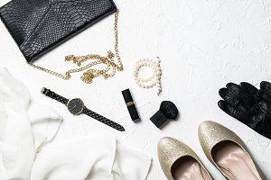 Black and gold fashion flatlay II