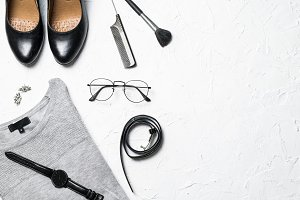 Grey and black fashion flatlay