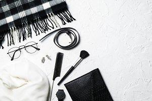 Black and white fashion flatlay