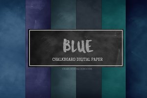 Blue Chalkboard Digital paper