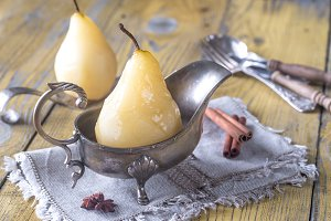 Poached pear in the gravy boat