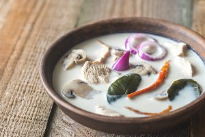 Bowl of thai tom kha kai soup