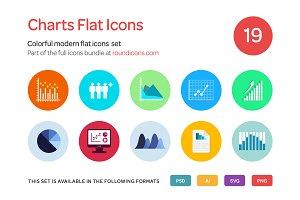 Charts Flat Icons Set