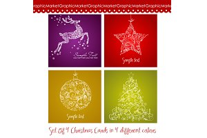 4 Christmas cards in 4 colours