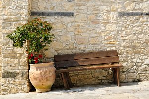Wooden bench and flower in pot