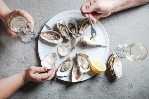Exotic dish - oysters with wine