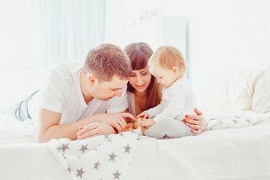 Happy family in room