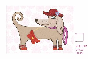 Fashion Dog Vector Illustration