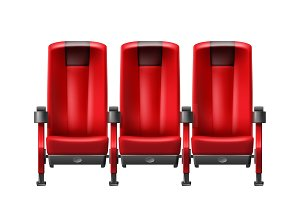 Realistic row of red cinema seats