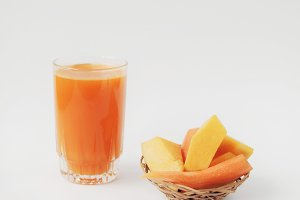 Glass of pumpkin and carrot juice