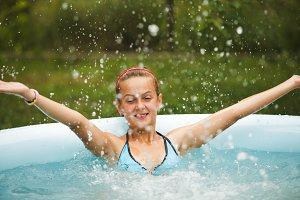 Girls in swimming pool