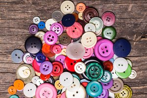 Colorful buttons heap