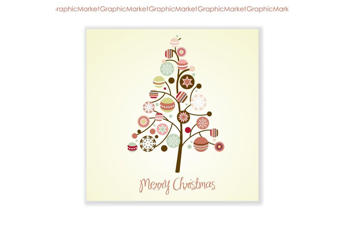 Xmas Tree Card Ornaments Clip Art Illustrations Creative Market
