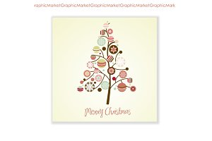 Xmas Tree card & Ornaments Clip Art