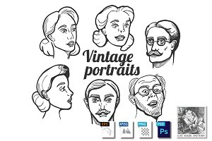Male and female vintage portraits