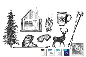 Winter hiking camp tourism icons